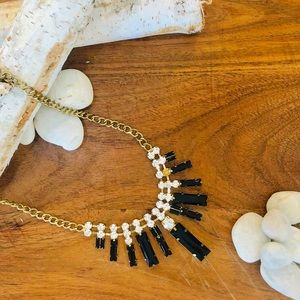 Nordstrom black and gold statement necklace